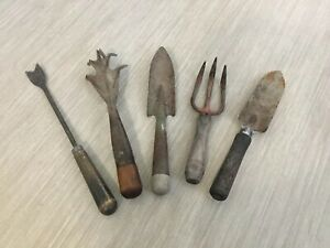 Antique Vtg Lot 5 Wrought Iron Steel Garden Hand Tools Blacksmith Primitive