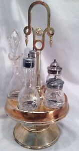 Antique Silverplate Cruet Castor Set Rogers Smith Co Etched Glass Condiment