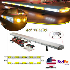 78led 45 Light Bar Tow Truck Top Roof Warning Lamp Waterproof Ip68 Amber white