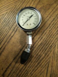 Vintage 2 1 2 Dial 0 To 300 Compression Tester Auto Tool 6 1 4 Long Usa