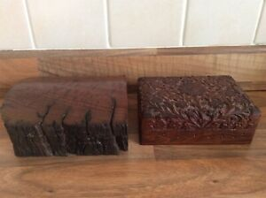2 X Vintage Wooden Carved Box Australian Red Wood Plus Indian Carved