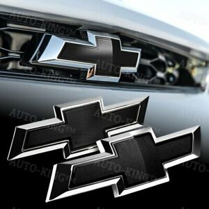 For 2016 2018 Chevy Chevrolet Camaro Front Grille Rear Black Bowtie Emblem Set