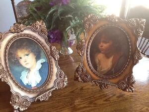 Pair Of Vintage Victorian Satin Portraits In Very Decorative Frames