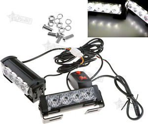 4 Led White Emergency Hazard Warning Grille Flash Flashing Strobe Lights