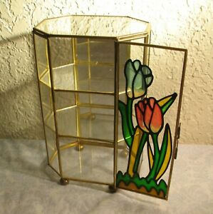 Vintage Glass Brass Display Case Curio Cabinet Table Model Mirror Back Tulips