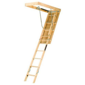 Louisville Ladder 22 5 by 54 inch Wooden Attic Ladder Fits 8 foot 9 inch To