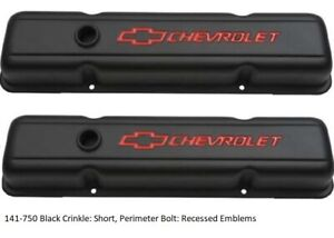 Proform 141 750 Chevy Performance Parts Eng Short Valve Covers Black Crinkle