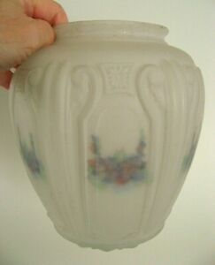 Vtg Antique Art Deco Floral Frosted Satin Glass Shade Ceiling Light Fixture