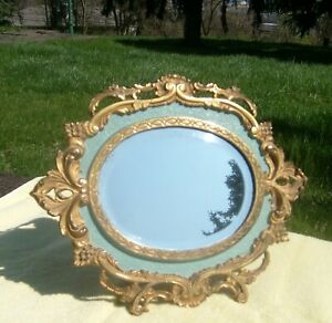 Antique Nat L Brass Iron Works Victorian Easel Back Or Wall Mount Mirror