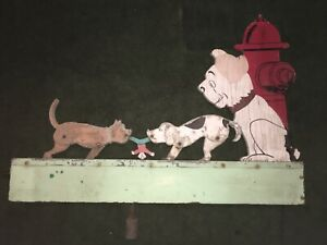Vintage Whirligig Dogs Playing Puppies Weathervane