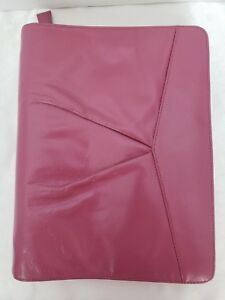 Franklin Covey Classic Pink Leather Unstructured Zip Binder 1 1 8 Rings