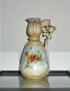 Art Nouveau Signed Austria Ewer Pitcher Vase Figrual Poppy Seed Pod Hand Painted