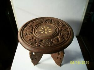 1940s Hand Carved Wooden Stand W Tripod Legs And Camel Bone Inlay On Top India