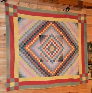Show Stopper Hand Stitched Antique Quilt Trip Around The World Quilt Rich Colors