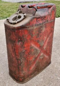 Vintage Distressed Red Military Style Metal Jerry Gas Can Jeep Willys W Lid
