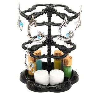 Rotating Black Earring Display Stand Holder With 72 Earring Holes Plastic