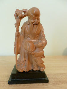 Chinese Camphor Wood Hand Carved Confucius Statue Vg Condition