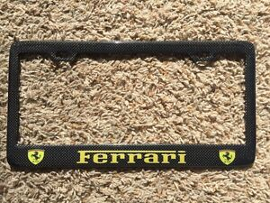 Black ferrari License Plate Frame Custom Real Carbon Fiber No Vinyl Yellow