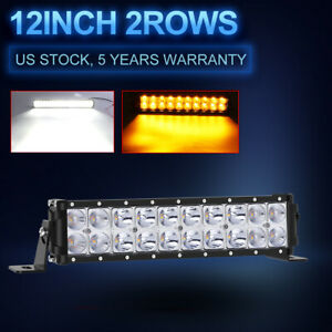 12inch Amber White 160w Led Work Light Bar Spot Flood Combo Off Road 4x4 Truck