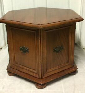 Vintage Ethan Allen Solid Maple Hexagon End Table W Doors To Storage Rare