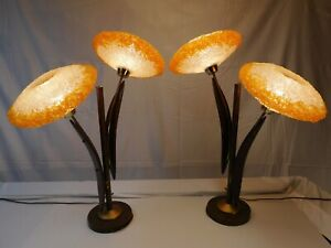 Pair Of Vintage Danish Mcm Spaghetti Globe Lucite Wood Sunflower Table Lamps