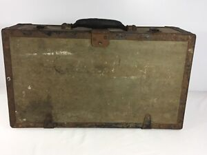 Vintage World War Military Wooden Metal Trunk Rustic Luggage Case Display Prop