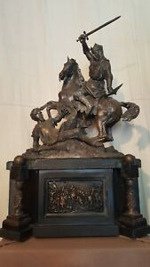 Antique French 19th Century Large Bronze Sculpture Of 2 Knights Fighting