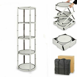 80 Round Portable Aluminum Spiral Tower Display Case Trade Show With Top Light