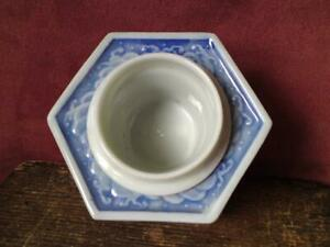 Antique Japanese Meiji Seto Blue White Porcelain Brush Washer Ink Pot