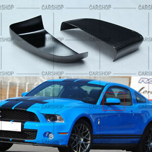 For Ford Mustang Gt Coupe 07 13 Dry Real Carbon Fiber Side Mirror Cover Cap Add