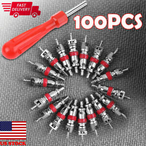 100pcs Car Tire A C Air Conditioning Schrader Valve Cores W Remover Wrench Us