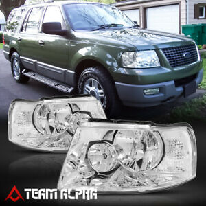 Fits 2003 2006 Ford Expedition chrome clear Crystal Corner Headlight Headlamp