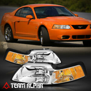 Fits 1999 2004 Ford Mustang Chrome Clear Amber Corner Headlight Headlamp Lamp