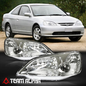 Fits 2001 2003 Honda Civic Chrome Clear Crystal Corner Headlight Headlamp Lamp