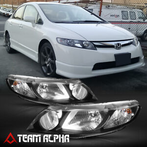 Fits 2006 2011 Honda Civic 4dr black clear Crystal Corner Headlight Headlamp