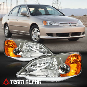 Fits 2001 2003 Honda Civic Chrome Clear Amber Corner Headlight Headlamp Lamp