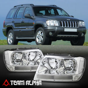 Fits 1999 2004 Jeep Grand Cherokee Chrome Clear Crystal Corner Headlight Lamp