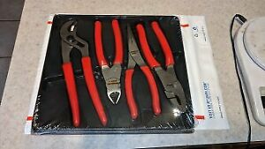 New Snap On 4 Pc Pliers Cutters Set Pl400b 47acf 91acp 96acf 87acf Ships Free