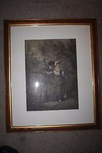 Vintage Wooden Picture Frame W Glass 20 5 X 24 5 With Vintage Print