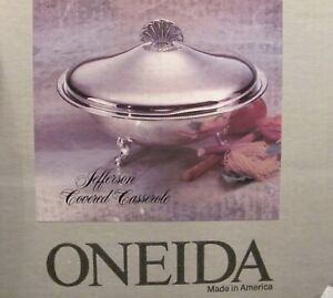 Oneida Jefferson Covered Casserole Silver New In Box Usa Pyrex Liner Gorgeous