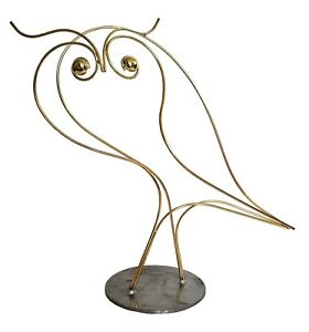 Curtis Jere Signed Brass Owl Outline Sculpture Vintage Table Art 22 High