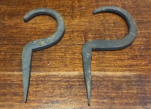 Two Antique Primitive Hand Forged Wrought Iron Hooks