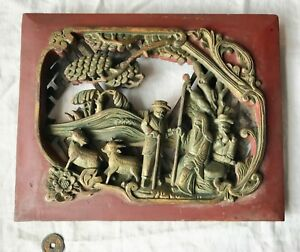 Japanese Hand Carved Wood Plaque Aged Man With Friends Animals Red Tone 12 5