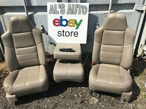 99 10 Ford F250 F 250 Seats Tan Leather Full Set Half Power Console Oem