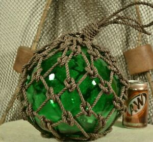 Vintage Glass Fishing Float In Light Deep Green