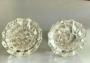 Lot Of Two Antique Door Knob 12 Point Glass 2 Clear Glass