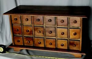 Antique Vtg Spice Chest Cabinet Walnut Mahogany Hand Made 18 Drawer Wooden Knobs