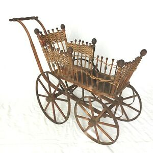 Antique Victorian Wicker Stick Post Baby Doll Pram Carriage Stroller Buggy