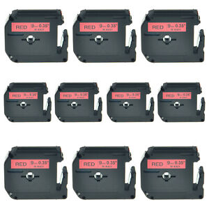 10pk 9mm Black On Red Mk421 M k421 M421 Lable Tape For Brother P touch 55s 70bmh