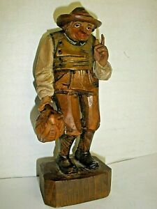 Vintage Hand Carved Hand Painted Wood Figure Man With Bottle P Schilo Luzerne